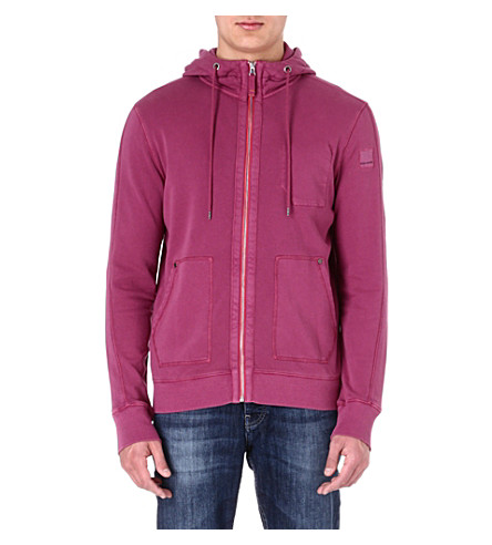 HUGO BOSS Washed zip-through hoody (Purple