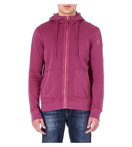 HUGO BOSS Washed zip-through hoody (Purple