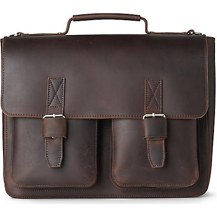 LEONHARD HEYDEN Salisbury double-lock briefcase (Brown