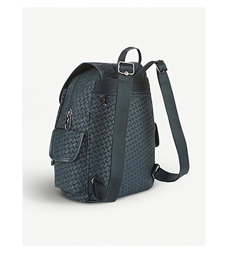 KIPLING City Pack geometric small backpack (Dk+emerald+emb