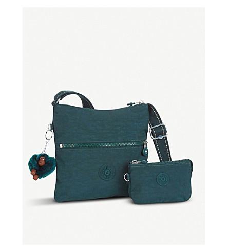 KIPLING Zamor duo embossed nylon shoulder bag with detachable pouch (Deep+emerald+c