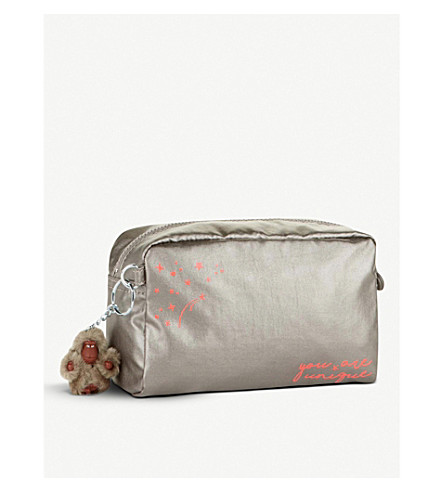 KIPLING Gleam metallic nylon pouch (Metallic+pewter