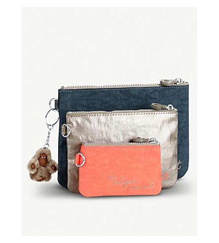 KIPLING Iaka L Wristlet Printed large pouches set of three (Metallic+pewter