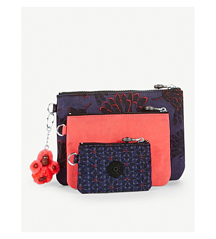 KIPLING Iaka set of three pouches (Floral+night