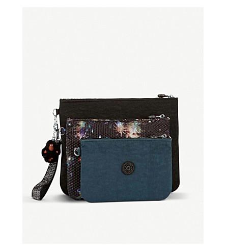 KIPLING Iaka nylon pouches with wristlet strap set of three (Winter+firework