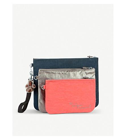 KIPLING Iaka nylon pouches with wristlet strap set of three (Metallic+pewter