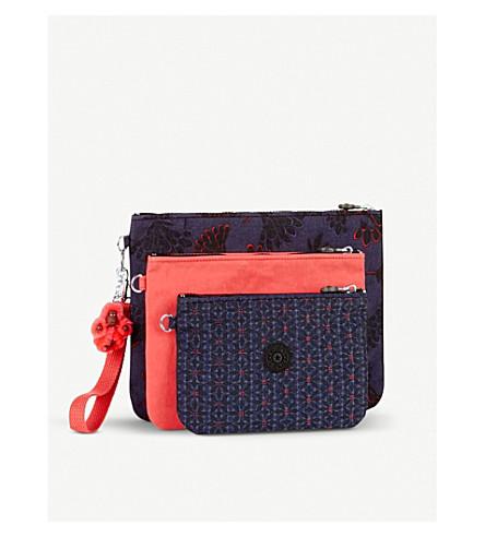 KIPLING Iaka nylon pouches with wristlet strap set of three (Floral+night