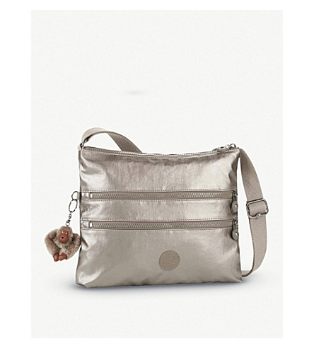 KIPLING Alvar nylon shoulder bag (Metallic+pewter