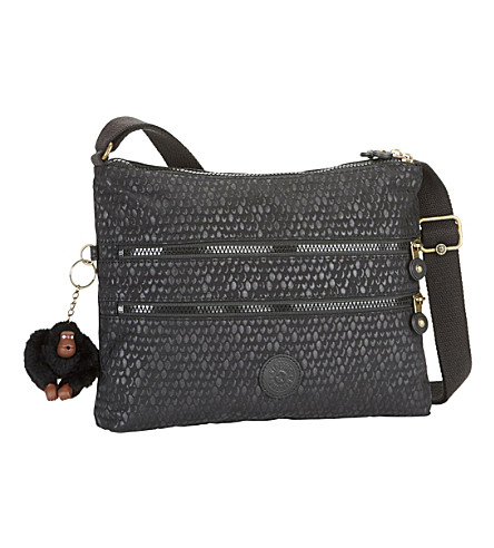 KIPLING Alvar zipped shoulder bag (Black+scale+emb