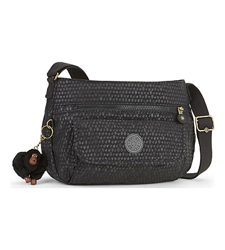 KIPLING Syro nylon shoulder bag (Black+scale+emb