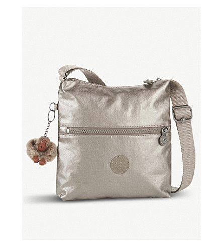 KIPLING Zamor nylon shoulder bag (Metallic+pewter