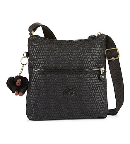KIPLING Zamor nylon shoulder bag (Black+scale+emb