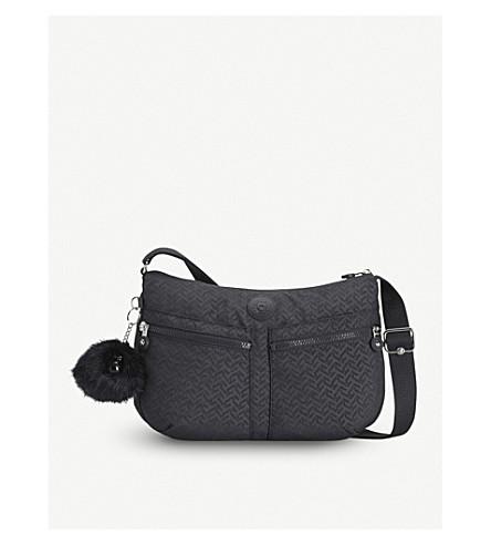 KIPLING Izellah chevron-print medium nylon shoulder bag (Night+blue+emb
