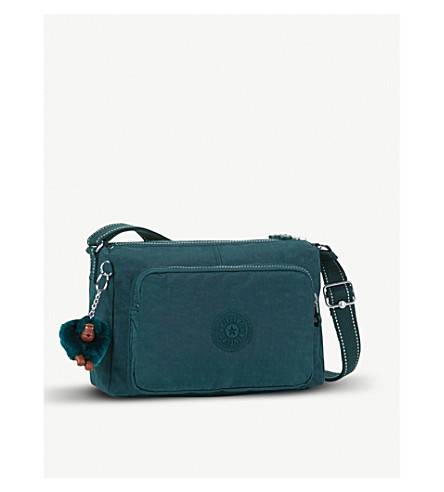 KIPLING Reth medium nylon crossbody bag (Deep+emerald+c