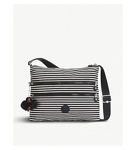 KIPLING Alvar striped woven crossbody shoulder bag (Marine+stripy