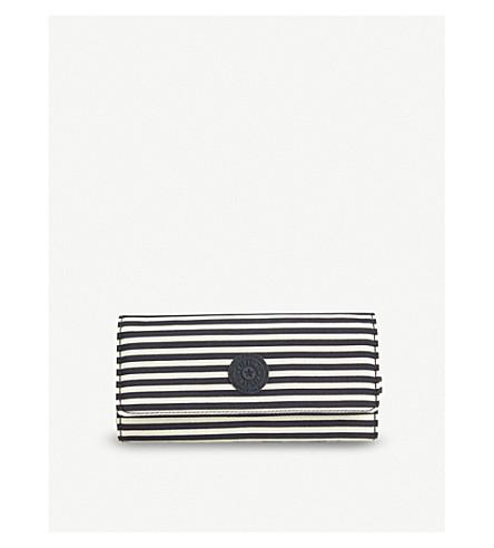 KIPLING Brownie large matinee striped nylon purse (Marine+stripy