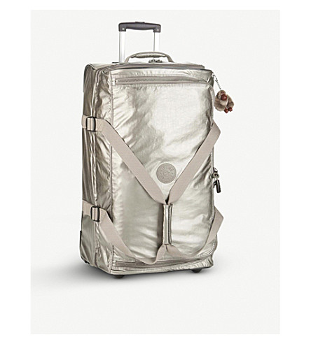KIPLING Teagan wheeled nylon duffle bag 66cm (Metallic+pewter