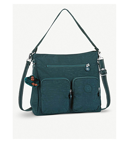 KIPLING Tasmo nylon medium cross-body bag (Deep+emerald+c