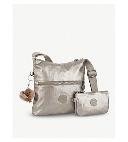 KIPLING Zamor duo embossed nylon shoulder bag with detachable pouch (Metallic+pewter