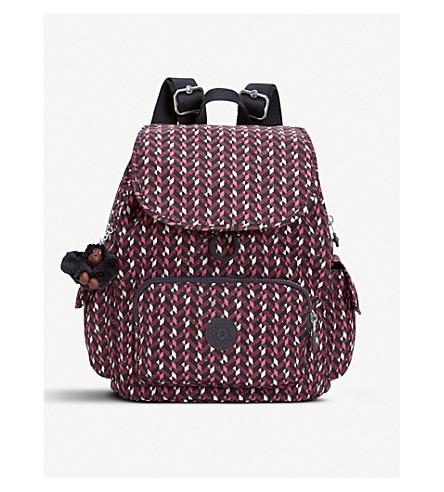 KIPLING City Pack small backpack (Pink+chevron