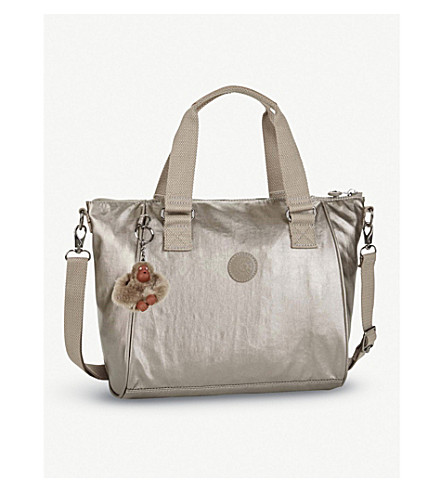 KIPLING Amiel nylon medium tote handbag (Metallic+pewter