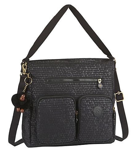 KIPLING Tasmo metallic shoulder bag (Black+scale+emb