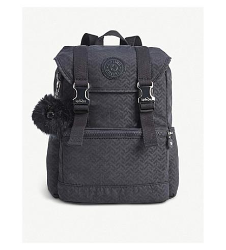 KIPLING Experience geometric-print small nylon backpack (Night+blue+emb