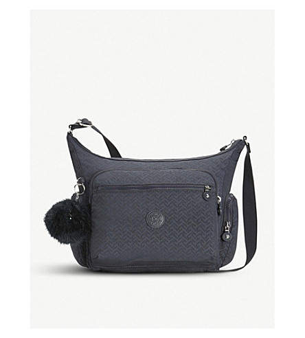KIPLING Gabbie large nylon shoulder bag (Night+blue+emb