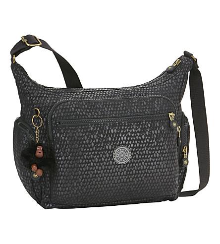 KIPLING Gabbie nylon shoulder bag (Black+scale+emb