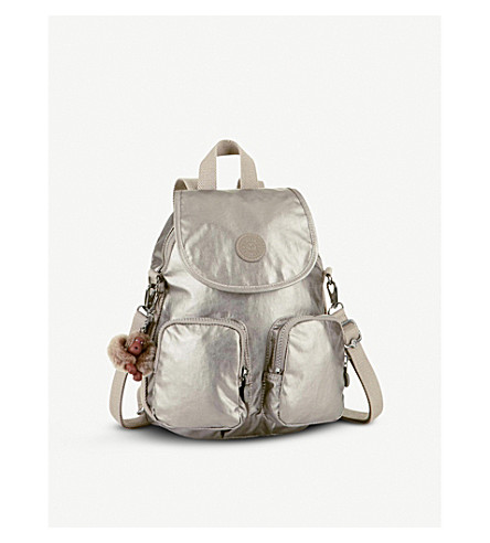 KIPLING Firefly Up convertible medium shell backpack (Metallic+pewter