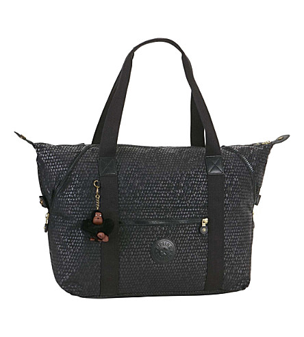 KIPLING Art medium nylon holdall (Black+scale+emb