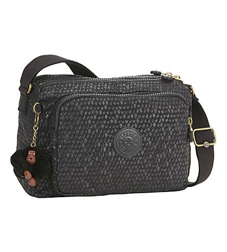 KIPLING Reth nylon messenger bag (Black+scale+emb