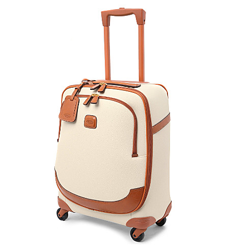 BRICS Firenze leather four-wheel suitcase 54cm (Panna