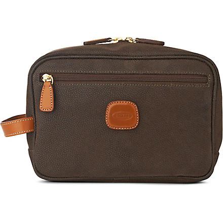 BRICS Life leather wash bag (Olive
