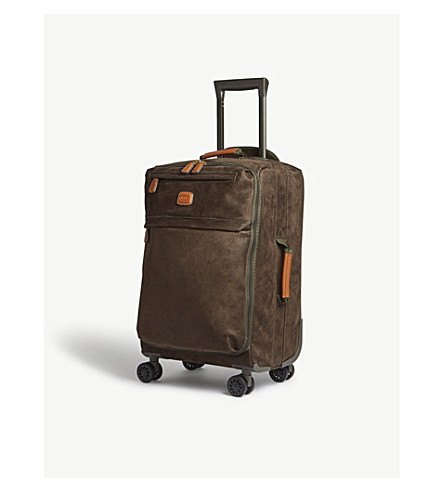BRICS Faux-suede four-wheel spinner suitcase 55cm (Olive/tan