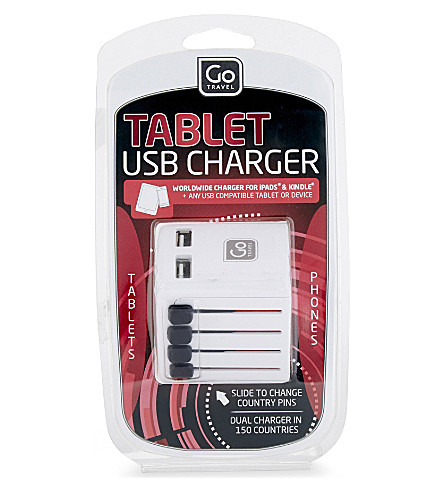 GO TRAVEL Worldwide twin USB charger (White