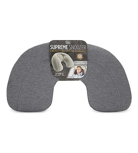 GO TRAVEL Supreme Snoozer flat-back inflatable travel neck pillow (Blue+/+light+grey