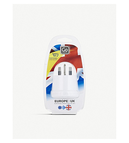 GO TRAVEL EU to UK adaptor (White