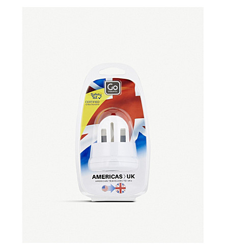 GO TRAVEL USA to UK adaptor (White