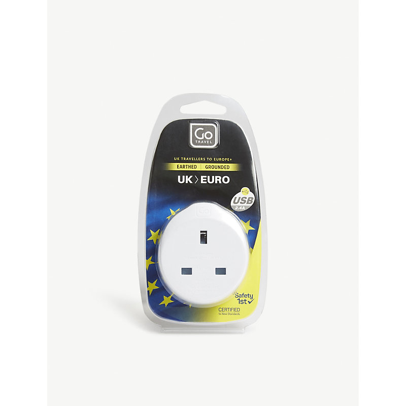 GO TRAVEL | Go Travel White UK To Euro Plug Adapter With USB Port | Goxip