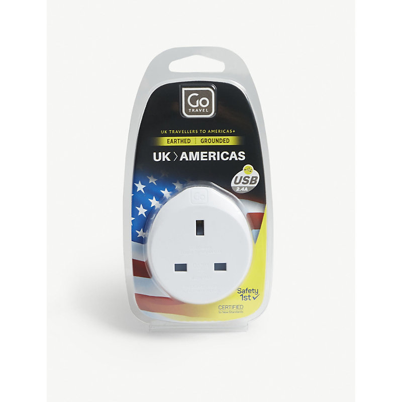 GO TRAVEL | Go Travel White UK To Americas Plug Adapter With USB Port | Goxip