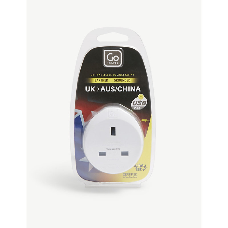 GO TRAVEL | Go Travel White UK To Australia And China Plug Adapter With USB Port | Goxip