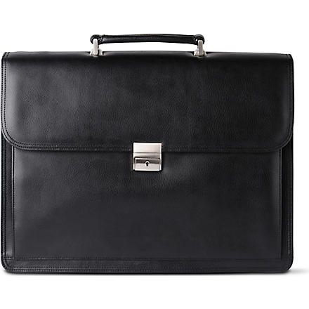 QUINDICI Large gusseted briefcase (Black
