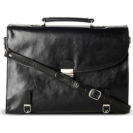 QUINDICI Two–gusset soft briefcase (Black