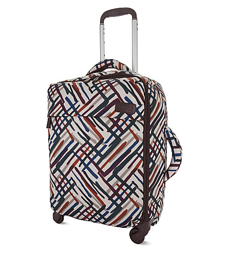 LIPAULT Chevron print spinner suitcase 55cm (Chevrvon/wine/green