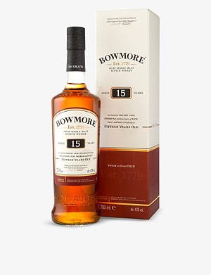 BOWMORE 15 year old single malt darkest Scotch whisky 700ml
