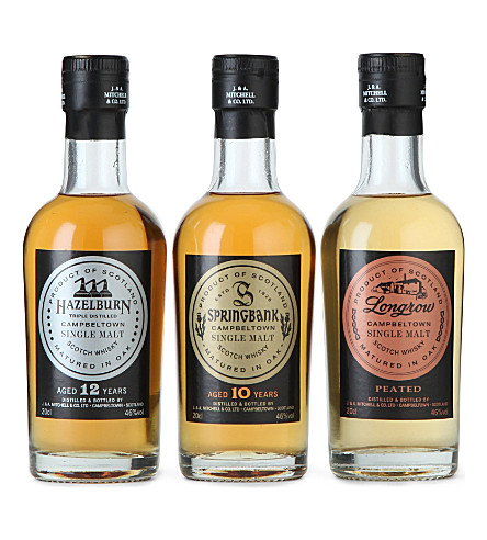 SPRINGBANK Set of three Springbank malt whiskies 200ml each