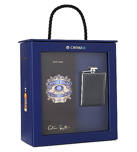 CHIVAS REGAL 18 year old and hip flask gift set 700ml