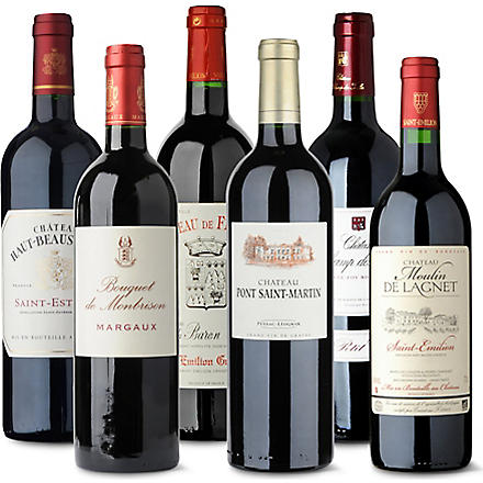 Bordeaux red wine case 6 x 750ml