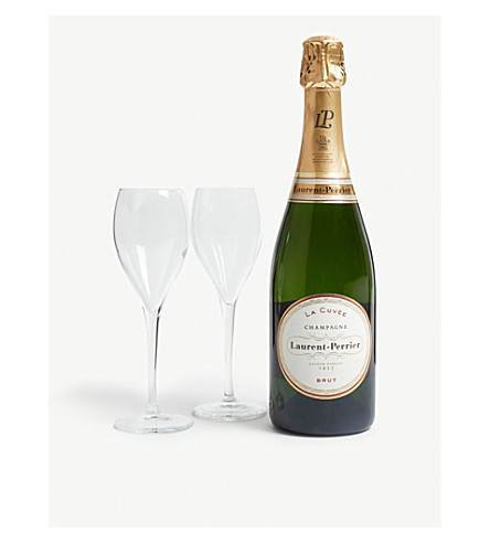 LAURENT PERRIER Brut NV gift set with two glasses 750ml